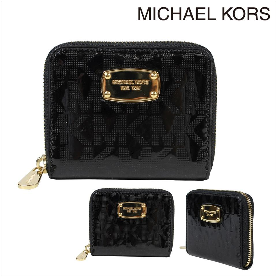 67505d0c5f10 Michael Kors Black New Logo Medium Metallic Patent Leather Wallet - Tradesy