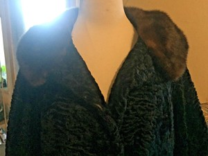 Peter Duffy Persian Curly Skin Half Sleeves Mink & Cuffs Vintage 40's & 50's Unique Pea Coat