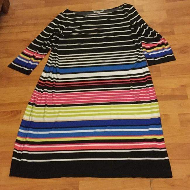 Item - Black White Red Blue And Striped Above Knee Work/Office Dress Size 16 (XL, Plus 0x)