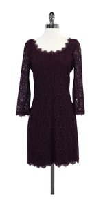 Diane von Furstenberg short dress Purple Long Sleeve Lace on Tradesy