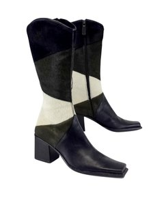 Sergio Rossi Black Army Green Ivory Pony Hair Boots