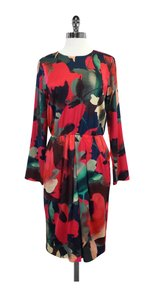 St. John short dress Dark Watercolor Long Sleeve Silk on Tradesy