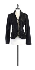 Tory Burch Black Leather Pleated Jacket