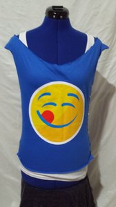 Gildan Emoji Sleeveless Medium T Shirt Blue