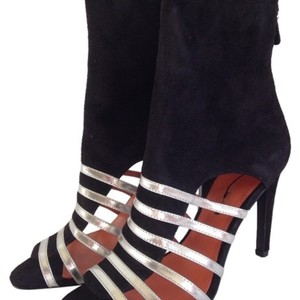 Via Spiga Roselyn Strappy Suede Bootie Black/Silver Sandals