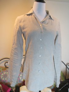 Anne Fontaine Designer Linen Button Down Shirt Tan