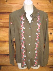 J. Jill Embroidered Button Front Boho Floral Cotton Button Down Shirt Olive Green