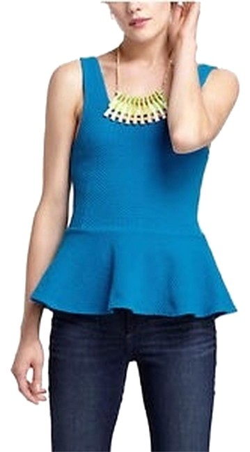 Preload https://item5.tradesy.com/images/anthropologie-blue-turquoise-peplum-ponte-blouse-size-8-m-1989704-0-0.jpg?width=400&height=650