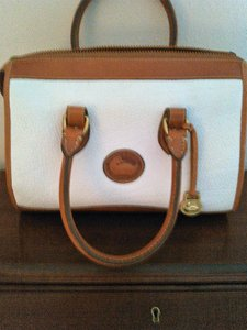 Dooney & Bourke And Taupe -british R21 Satchel in white with tan