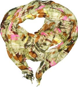 Unknown Pink Brown Green Camo Print Studded Sheer Lightweight Scarf