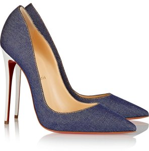 Christian Louboutin Pointed Toe Denim So Kate Blue, White Pumps