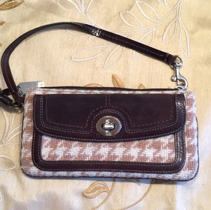 Coach Wristlet in Brown And Beige Herringbone