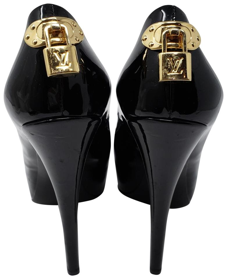 ec1e59259d12 Louis Vuitton Black Gold Patent Leather Oh Really Peep-toe Pumps ...