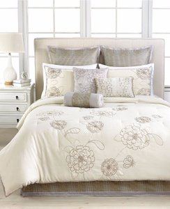 Martha Stewart Beige Calendula 9 Piece Comforter Set - Queen Decoration