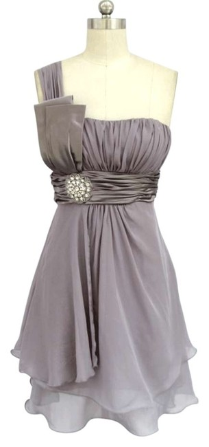 Preload https://item5.tradesy.com/images/gray-one-shoulder-chiffon-w-rhinestones-knee-length-formal-dress-size-22-plus-2x-198974-0-0.jpg?width=400&height=650