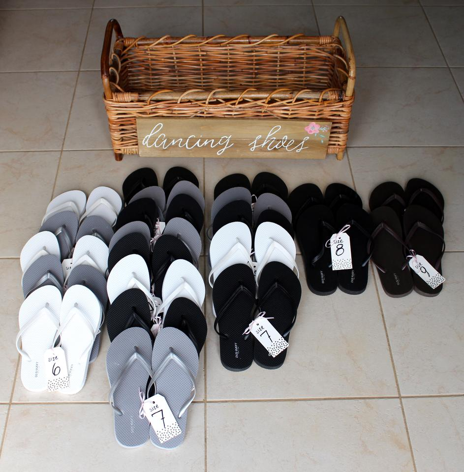 7ddc090942082 Old Navy Silver Black White Brown Wedding Guest Flip Flops Basket   Sign