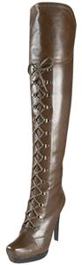 Stuart Weitzman Leather Brown Lace-up Platform New In Box Oiled Nappa Boots