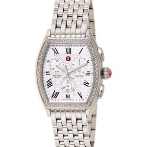 Michele MWW19A000001 MICHELE RELEVE Women's Silver Tone Stainless Steel Chronograph Watch with Diamonds Authentic Michele Releve Watch