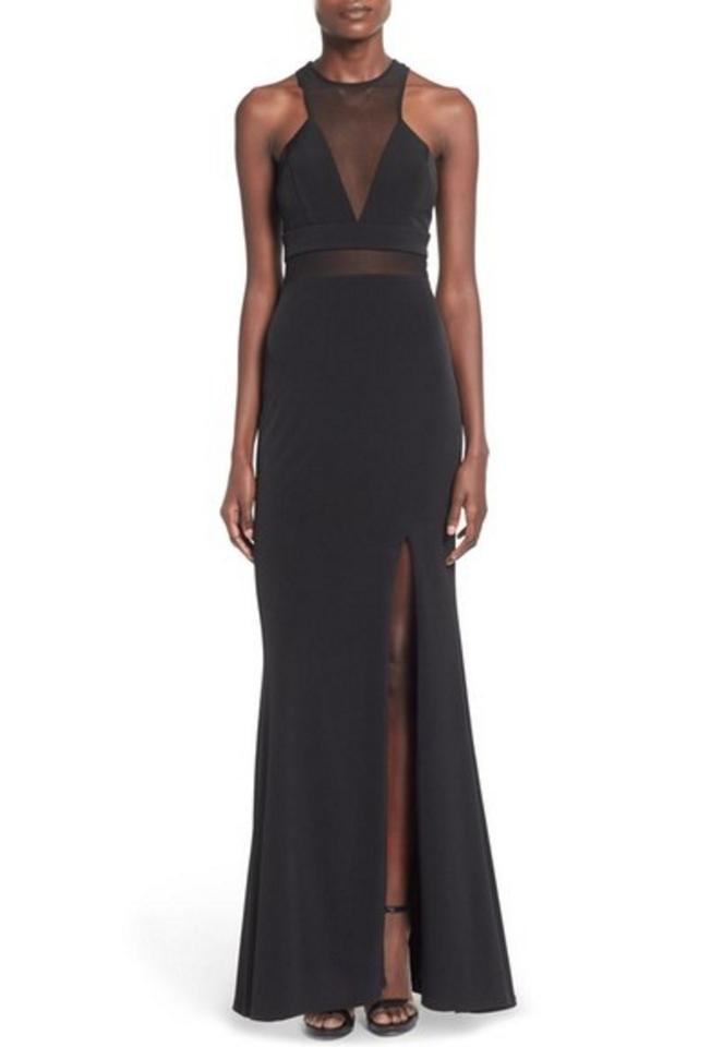 Nordstrom Black Wendy Evening Prom Gown Maxi Mesh High Slit Long ...