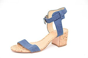 SCHUTZ Blue Denim Ankle Strap Denim Blue Sandals