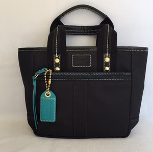Coach Tote in Black, Turquoise, Gold