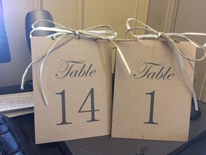 Printed Cardstock Table Numbers With Twine And Ribbon