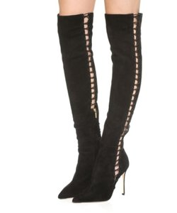 Sergio Rossi Suede Over The Knee Thigh High Black Boots