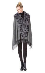 Fur Wrap Wool Cashmere Cape