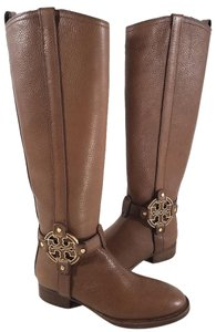 Tory Burch Riding Tumbled Leather Strap Details Logo Hardware Side Zip Closure Brown Boots