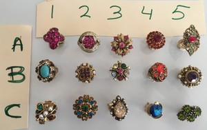 Lot of 15 vintage costume cocktail rings from the 1950's