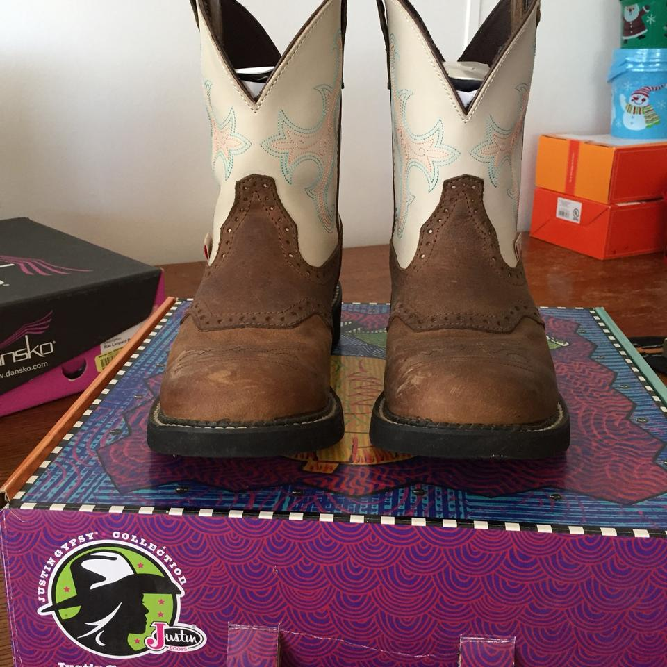 Justin Gypsy Brown and Tan Distressed Gypsy Justin Sc1003 Boots/Booties 241234
