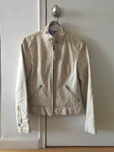 BB Dakota Leather Off White Leather Jacket