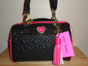Betsey Johnson Quilted Faux Leather Satchel in Black Bone Fuchsia