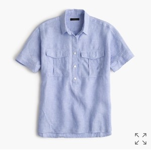 J.Crew Top Irish linen blue
