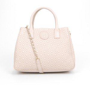 Tory Burch Quilted Leather Tote in Light Pink