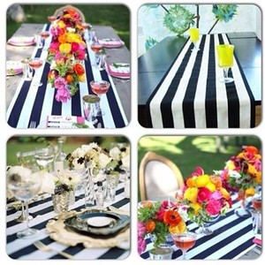 Black and White Striped Satin Runners Choose Your Color Reception Decoration