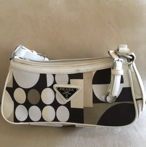 Prada White, Brown Clutch