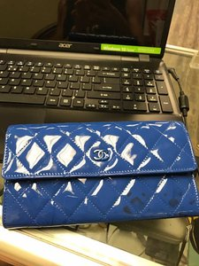 Chanel Chanel Blue Patent Leather LONG blueWallet