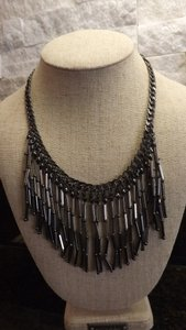 Smoky Charcoal Bugle Bead Necklace Nice Steel Gray Beaded Necklace!