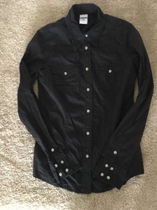 True Religion Swarovski Western Fitted Button Down Shirt Black