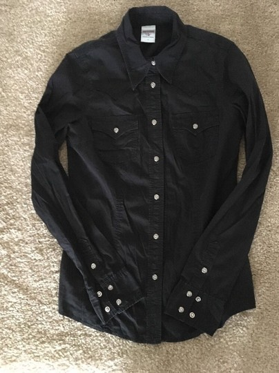 a0c9f0026 chic True Religion Black Rocky Western Shirt With Swarovski Crystal Buttons  Button Down Shirt - 53