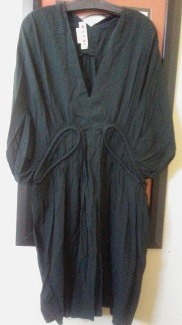 Item - Off Black with Greenish Undertones Made In Italy Viscose Gathered Mid-length Night Out Dress Size 12 (L)