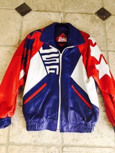 Helene Berman RED,WHITE & BLUE Leather Jacket