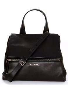 Givenchy Crossbody Messenger Leather Front Flap Satchel in Black