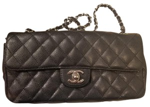 Chanel Quilted Front Flap East West Caviar Shoulder Bag