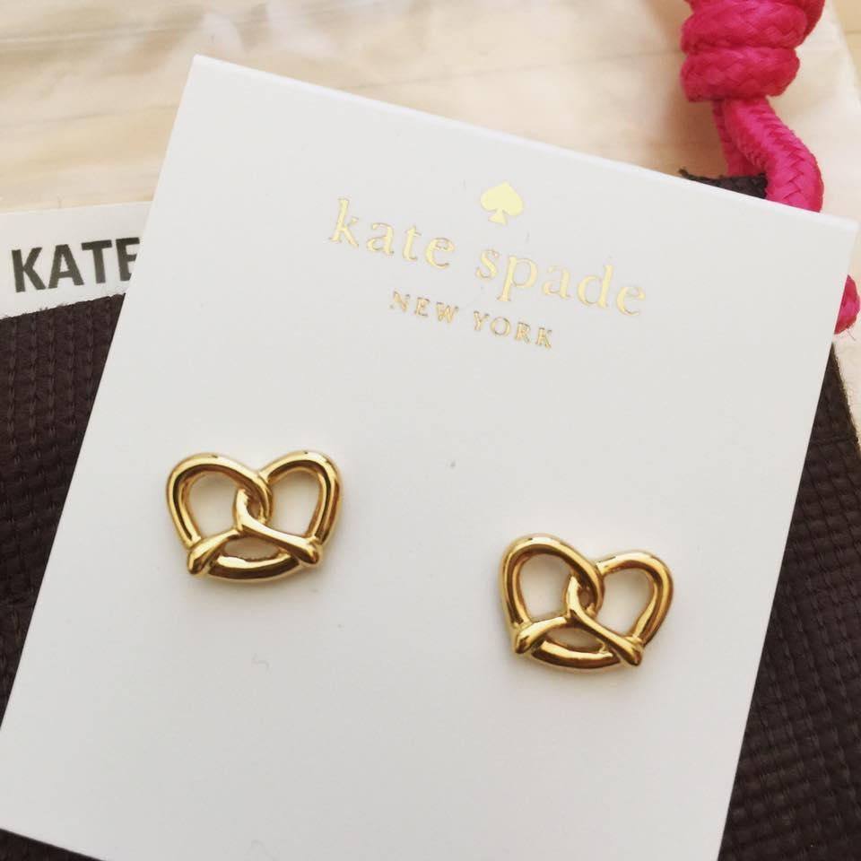 Kate Spade Red And Gold Set Pport Holder Nyc Pretzel Studs Earrings Tradesy
