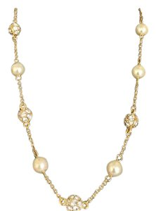 Nolan Miller NOLAN MILLER GOLD PLATED FAUX PEARL & PAVE BALL NECKLACE new in box