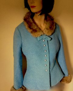 Other Vintage Wool Vintage Fitted Bow Blue with Brown-Gold Fur Jacket