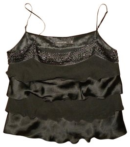 The Limited Ruffle Silk Evening Beaded Top Black