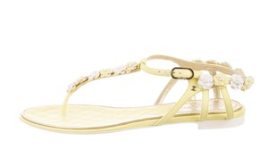 Chanel Chain Quilted Interlocking Cc Yellow, White, Silver Sandals